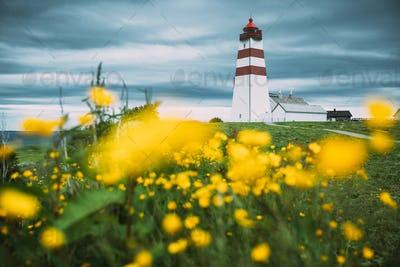Alnesgard, Godoya, Norway. Old Alnes Lighthouse In Summer Day In