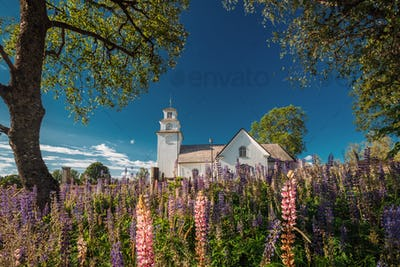 Tocksfors, Sweden. Tocksmarks Church In Sunny Summer Day