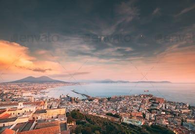 Naples, Italy. Skyline Cityscape City In Evening Sunset. Tyrrhen