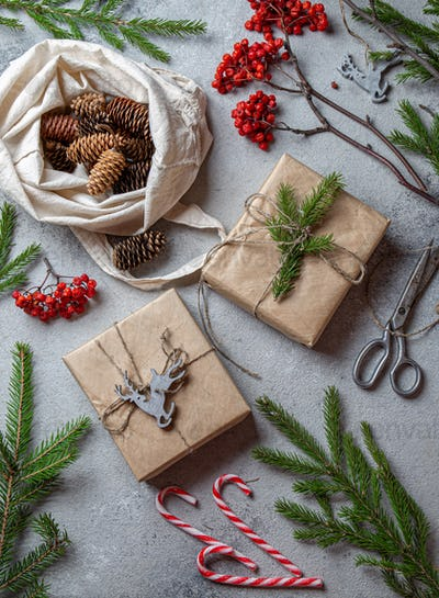 Zero waste Christmas concept. Natural Chirsmas decoration and Hand crafted gifts without plastic