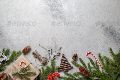 Zero waste Christmas concept. Natural Chirsmas decoration and Hand crafted gifts without plastic.