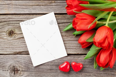 Red tulips and Valentine's day greeting card