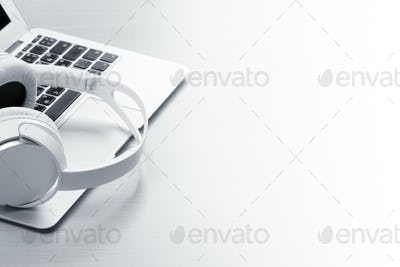 Headphones over laptop