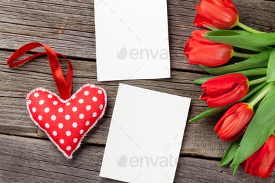 Red tulips, Valentines day heart and photo frames