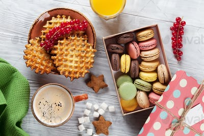 Coffee with waffles and sweets