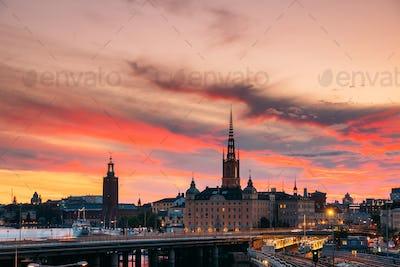Stockholm, Sweden. Scenic View Of Stockholm Skyline At Summer Ev