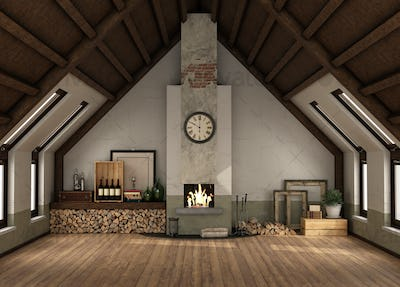 Rertro attic with fireplace without furniture