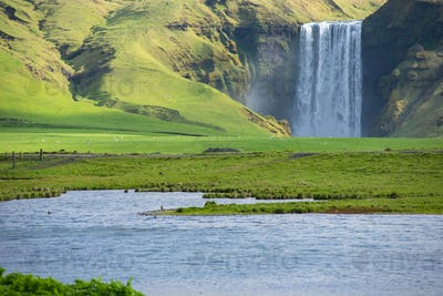 Skogafoss waterfall, on the Ring Road in Iceland