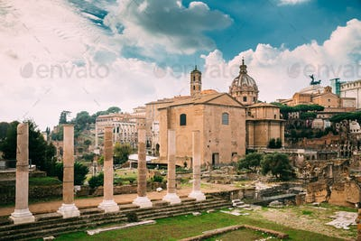Rome, Italy. Temple Of Peace And Basilica Aemilia In The Roman F