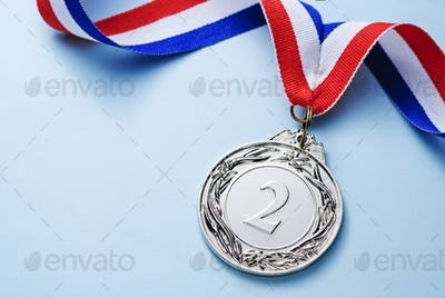 Silver medal 2 place with ribbon
