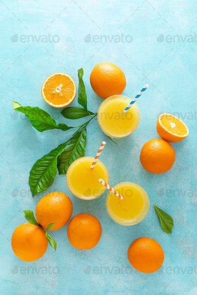 Orange juice, freshly squeezed juice, vitamin C concept
