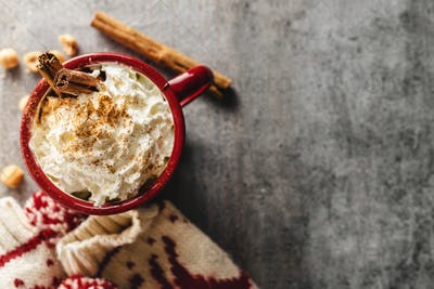 Hot chocolate in cup with whipped cream