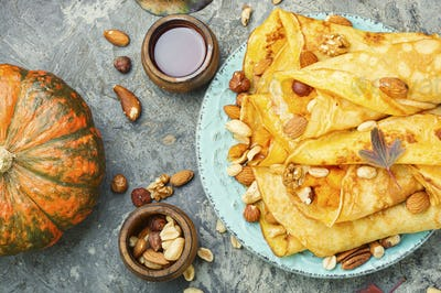 Homemade crepes with pumpkin