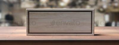 Blank wooden sign on a wooden shelf, blur background. 3d illustration