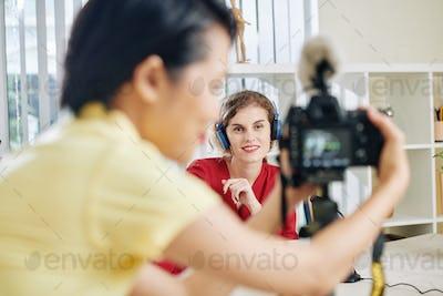 Beautiful woman recording video