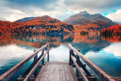 Wooden pier on autumn lake Sils