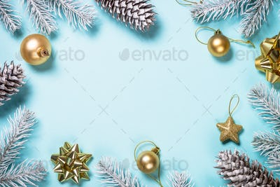 Christmas flat lay background on blue