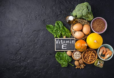 Assortment food sources of vitamin E