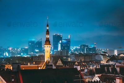 Tallinn, Estonia. Tower Of Town Hall On Background With Modern U