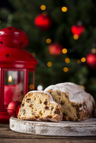 Christmas cake stollen with dried fruits