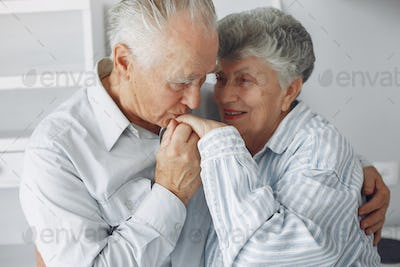 Beautiful old couple spent time together at home