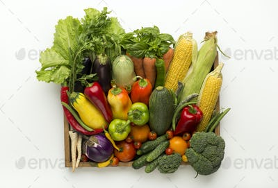 Healthy harvest of vegetables in organic wooden box