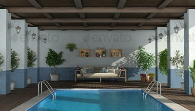 Swimming pool under an old porch