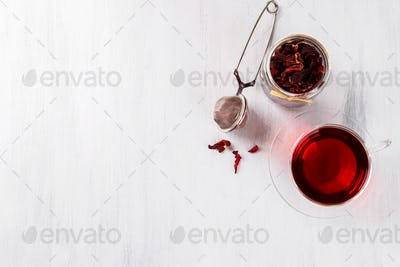 Hibiscus tea flat lay