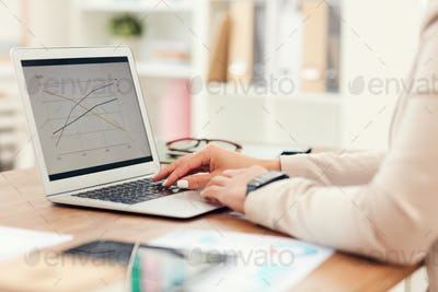 Businesswoman Typing Close Up