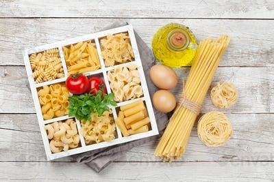 Various pasta in wooden box