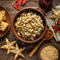 Kutia. Traditional ukrainian Christmas ceremonial grain dish with honey, raisins and poppy seeds
