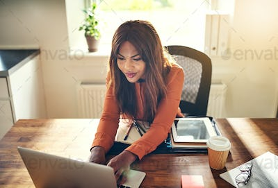Smiling female entrepreneur working online at a desk at home
