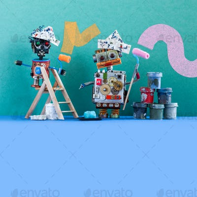Funny painters decorators steampunk toys with paint rollers and buckets