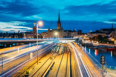 Stockholm, Sweden. Night Scenic View Of Stockholm Skyline