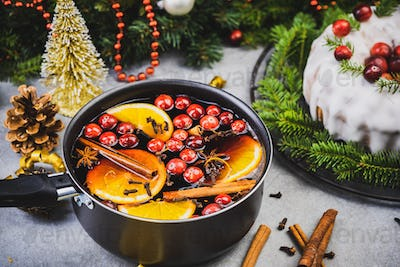 Making Warming Festive Mulled Wine with Fruits and Spices