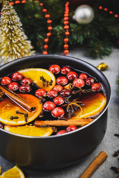 Mulled Wine Warming Festive Drink with Fruits and Spices