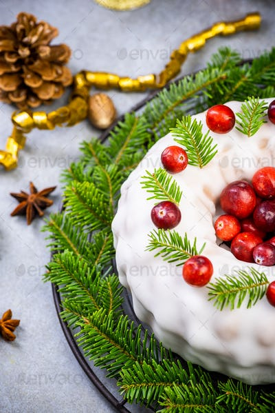 Homemade Christmas Fruit Cake Decorated with Red Cranberry