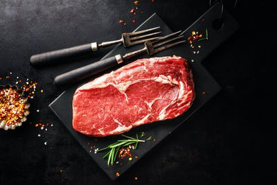 Raw beef steak on grill pan