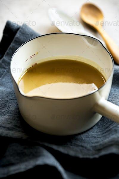 Homemade Vegan Caramel in an Enamel pot