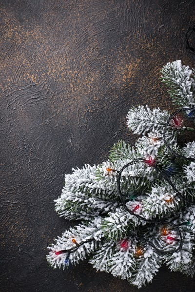Christmas background with tree and  garland lights