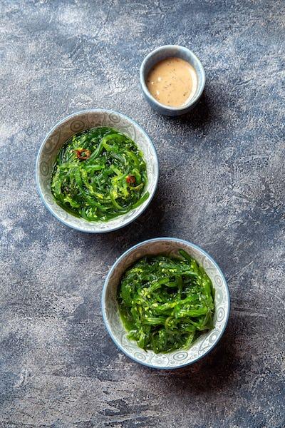 Chuka wakame,  seaweed japanese salad with nuts sauce.