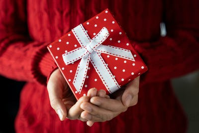 Young female hands holding gift box with ribbon