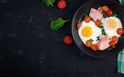 Plate with a keto diet food. Fried egg, ham, spinach, and tomatoes.