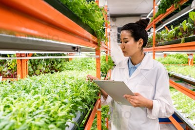 Young serious Asian woman in whitecoat standing by shelf with green seedlings