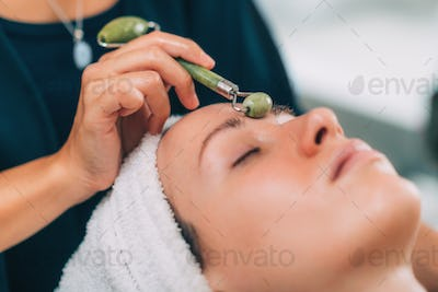 Guasha Face Lymph Drain Massage with Jade Stone Roller