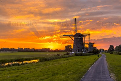 Wooden windmills in a row at orange sunset