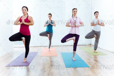 Group of people practicing yoga at home. Vrksasana pose.