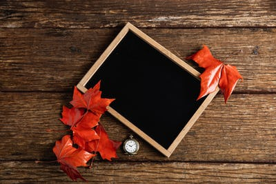 Autumnal flat lay with chalkboard