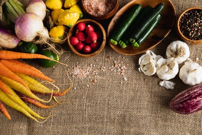 Autumn harvest flat lay with food
