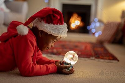 Boy at home at Christmas time